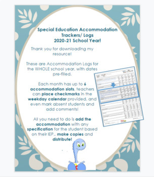 Special Education: EDITABLE Accommodation Trackers- 2019-2020 WHOLE school year!