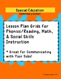 Special Education Elementary Edition - Lesson Plan Grid  -