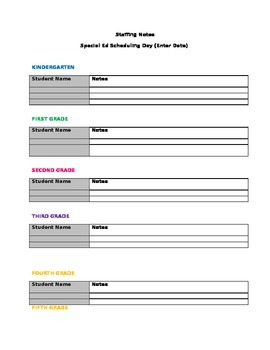 Special Education End of Year Staffing Notes