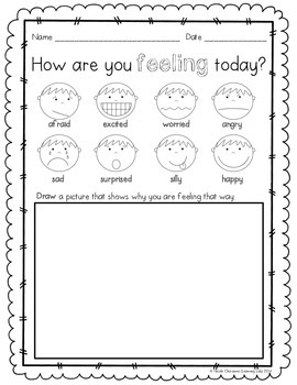 Special Education - Feelings: Daily Check-In Sheet