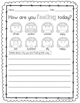 special education feelings daily check in sheet by learning lab