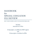Special Education File Review/Monitoring Handbook