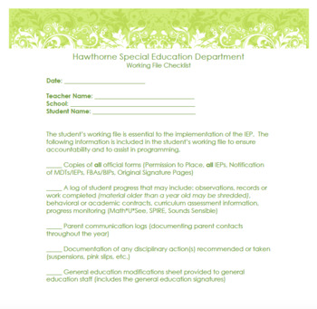 Special Education Forms Packet