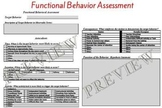 Special Education Functional Behavior Assessment Behavior Support Plan Template