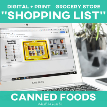 Special Education Grocery Store Shopping List: Canned Foods
