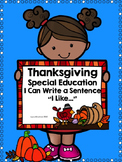 Thanksgiving I Can Write a Sentence for Special Education and Intervention
