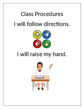 "Special Education ""I Will"" Class Rules/Procedures"