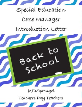 Special Education IEP Case Manager/Resource/Homeroom Intro