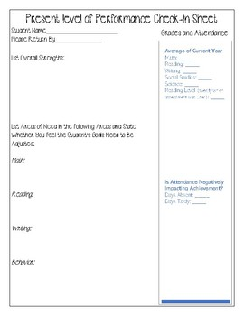 Special Education Elementary IEP Check-In Sheet