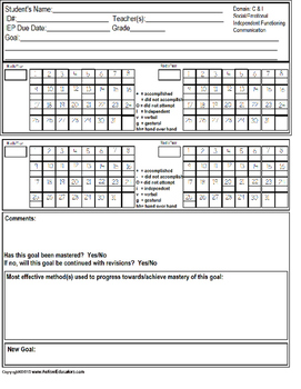 This is a graphic of Crafty Printable Data Sheets Special Education