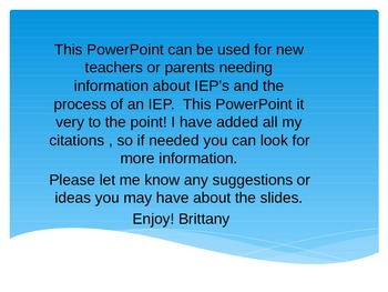 Special Education IEP Power Pointpower for GE teachers, pa