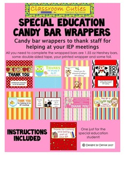 Special Education IEP Thank You Candy Bar Wrappers