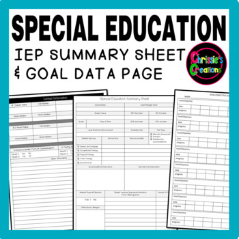 FREE Special Education IEP Summary and Data sheet