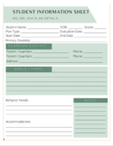 SPED Individual Student Information One Page Profile (FREE)