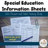 Low-Prep, Printable Special Education Information Sheets