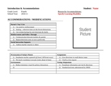 Special Education Introduction and Accomodations Form