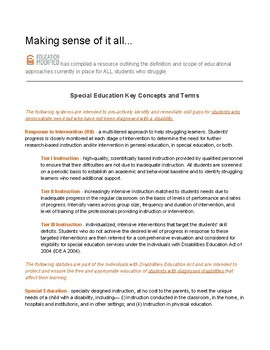 Special Education Key Concepts and Terms (Free Download!)