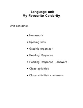 Special Education Language Program - My favourite Celebrity