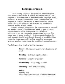 Special Education Language Program - Winter Unit