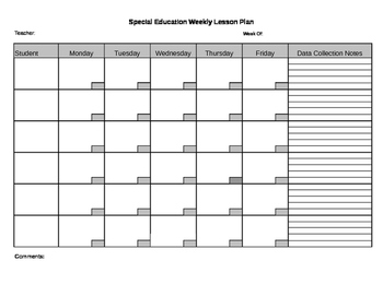 Special Education Lesson Plan Template By Shannon Headley TpT - Lesson plan template special education