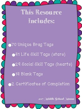 Special Education Life Skill and Social Skill Brag Tags