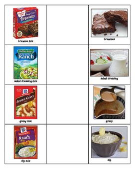 Special Education: Match Food Mixes to the Food Results