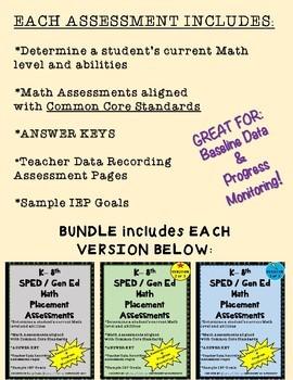 Special Education Math Assessments BUNDLE (K-8)