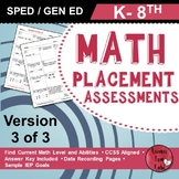 Special Education Math Assessments (K-8)