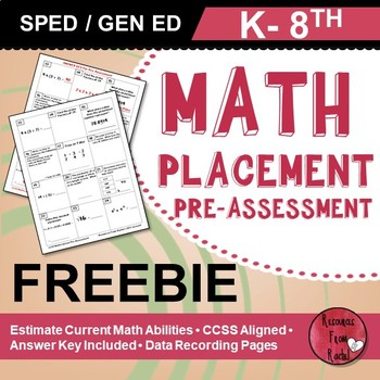 Special Education Math Assessments (K-8 FREEBIE)