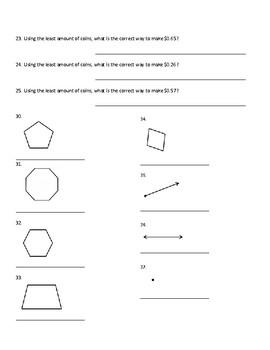 Special Education Math Final Study Guide (Money, Algebra, Geometry)