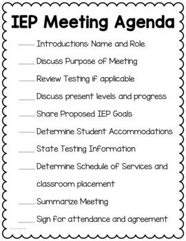 Special Education Meeting Agenda