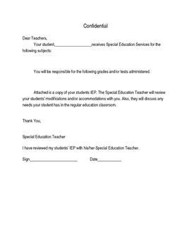 Special Education Modifications/Accommodations Letter
