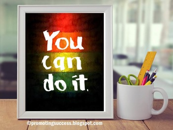 You Can Do It ~ Rainbow Theme Classroom Decor, Inspirational Poster