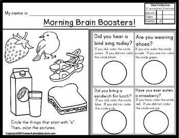 SEPTEMBER Calendar Morning Worksheets Brain Boosters for Special Education