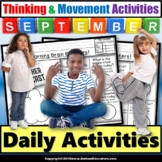 Morning Work SEPTEMBER Calendar Brain Boosters for Special Education