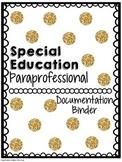 Special Education Paraprofessional Documentation Binder