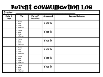 Special Education Parent Communication Log
