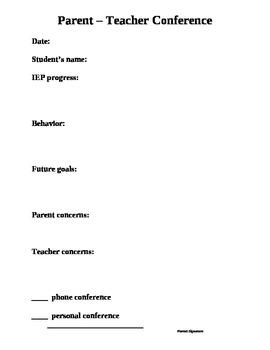 Special Education Parent Teacher Conference Documentation