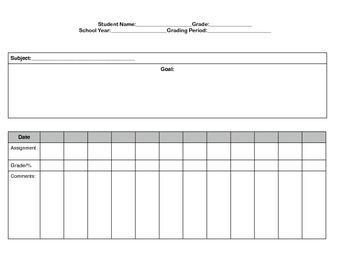 Special Education Progress Monitoring Documentation form