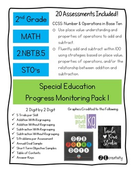 Pack 1/Math 2nd Grade Special Education Progress Monitoring
