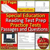 Special Education Reading Comprehension Test Prep Practice Tests - Narratives