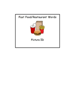 Special Education Reading: Fast Food & Restaurant Picture ID