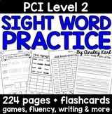 Special Education - Reading Practice Worksheets for PCI Level 2 Sight Words