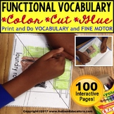 FUNCTIONAL VOCABULARY Color Cut and Glue FINE MOTOR Worksheets for Special Ed