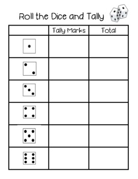 Special Education Roll the Dice and Tally Template
