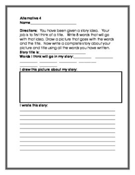 Special Education Scaffolded Story Starter Task Cards