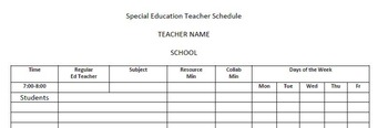 Special Education Schedule Template