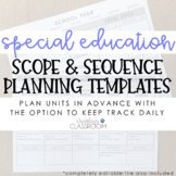 Special Education Scope & Sequence Planning Templates (EDITABLE)