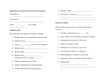 Special Education Skills Checklist for General Education Teachers