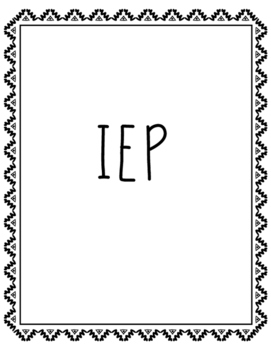Special Education - Student Binder Tabs